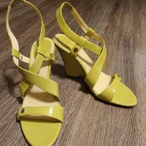 Circa Joan & David Green Leather Strap Wedge Heel